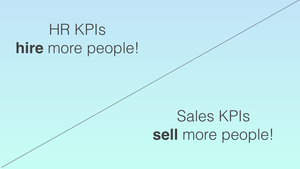 HR KPIs hire more people! Sales KPIs sell more ...