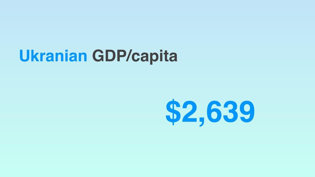 Ukranian GDP/capita $2,639