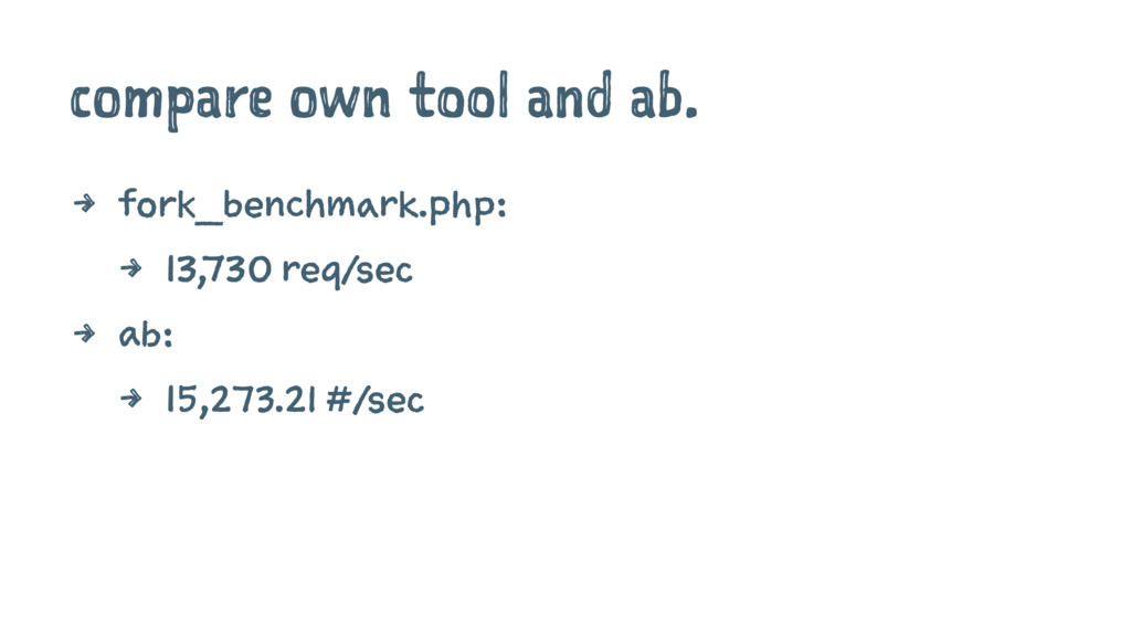 compare own tool and ab. 4 fork_benchmark.php: ...