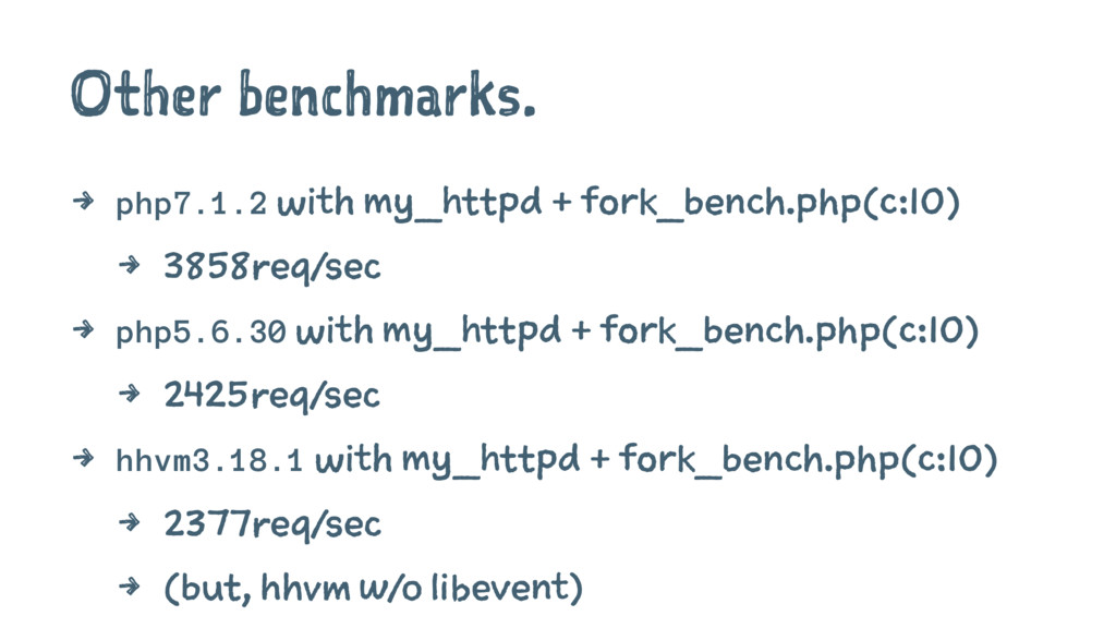 Other benchmarks. 4 php7.1.2 with my_httpd + fo...