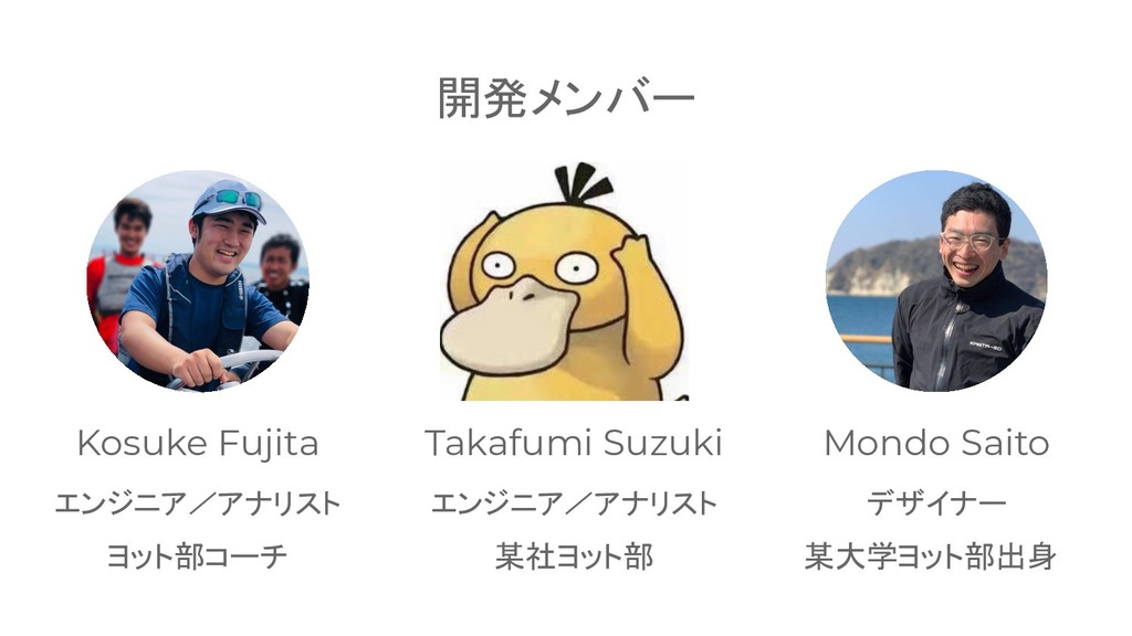 27 開発メンバー Kosuke Fujita エンジニア/アナリスト Takafumi Su...