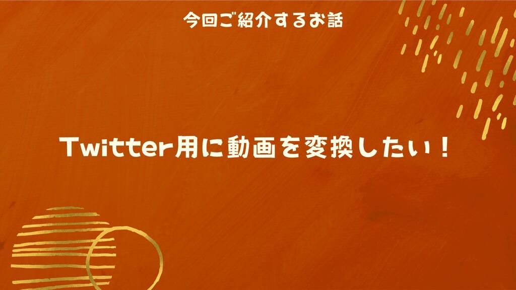 今回ご紹介するお話 Twitter用に動画を変換したい!