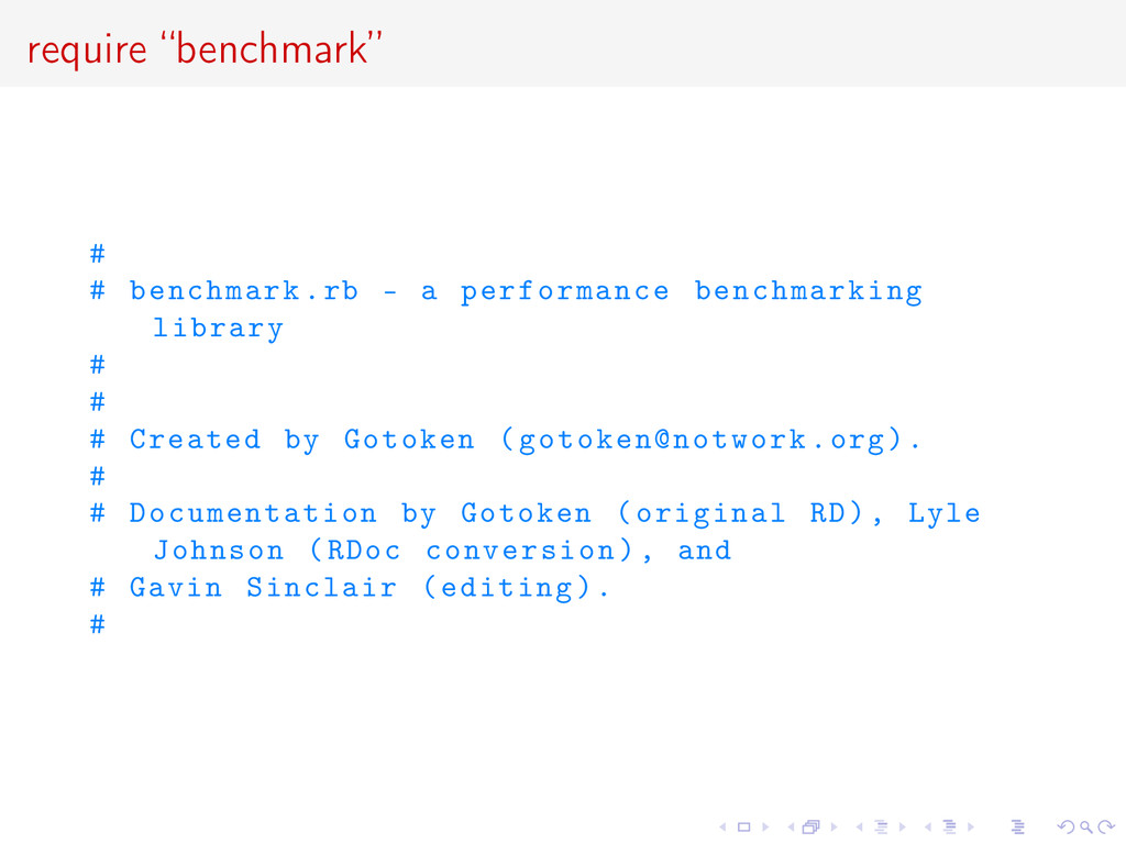 """require """"benchmark"""" # # benchmark.rb - a perfor..."""