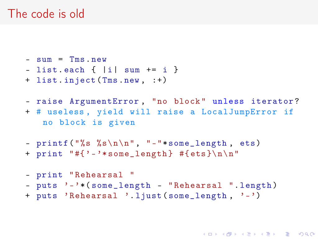 The code is old - sum = Tms.new - list.each {  ...