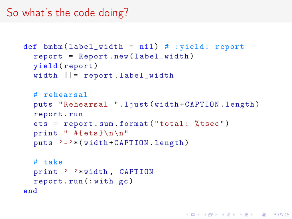 So what's the code doing? def bmbm(label_width ...