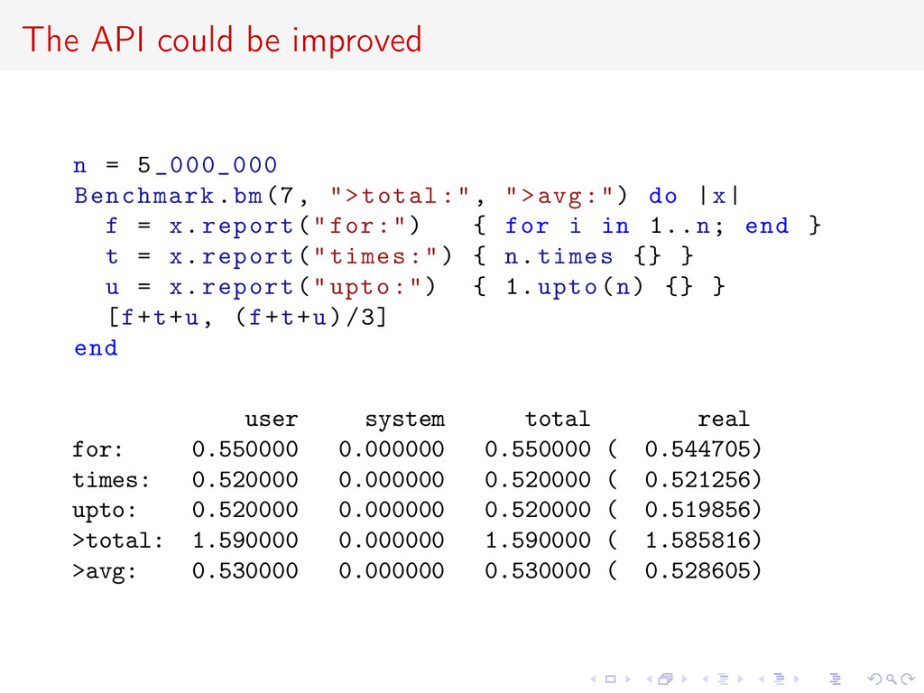 The API could be improved n = 5_000_000 Benchma...