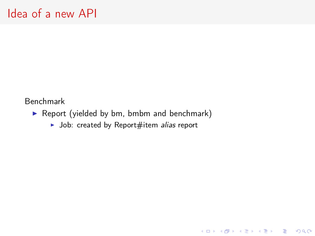 Idea of a new API Benchmark Report (yielded by ...