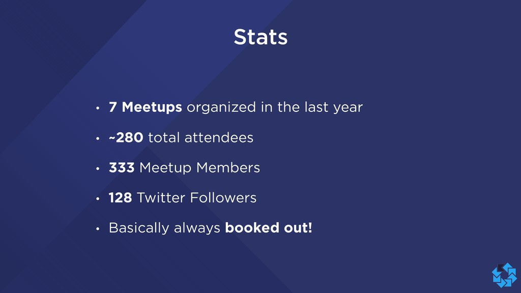 Stats • 7 Meetups organized in the last year • ...