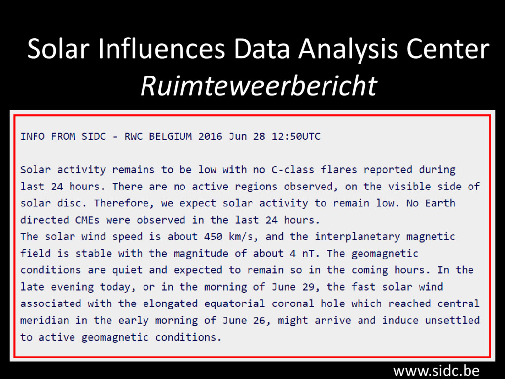 Solar Influences Data Analysis Center Ruimtewee...