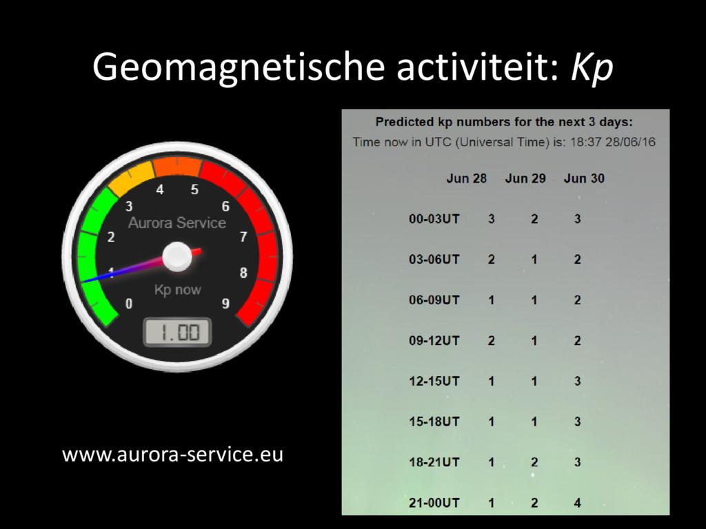 Geomagnetische activiteit: Kp www.aurora-servic...