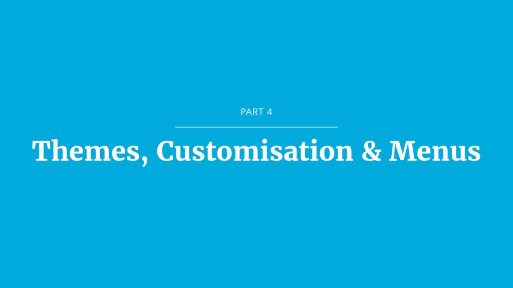 PART 4 Themes, Customisation & Menus