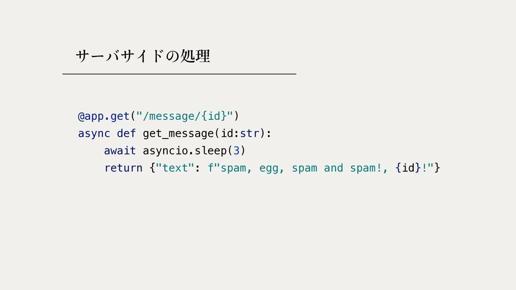 """処理 @app.get(""""/message/{id}"""")   async def get_me..."""