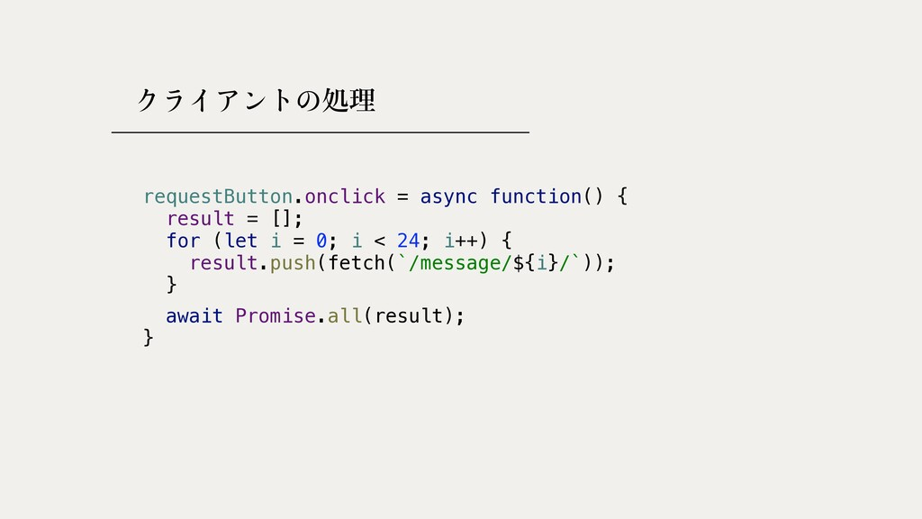 処理 requestButton.onclick = async function() {  ...
