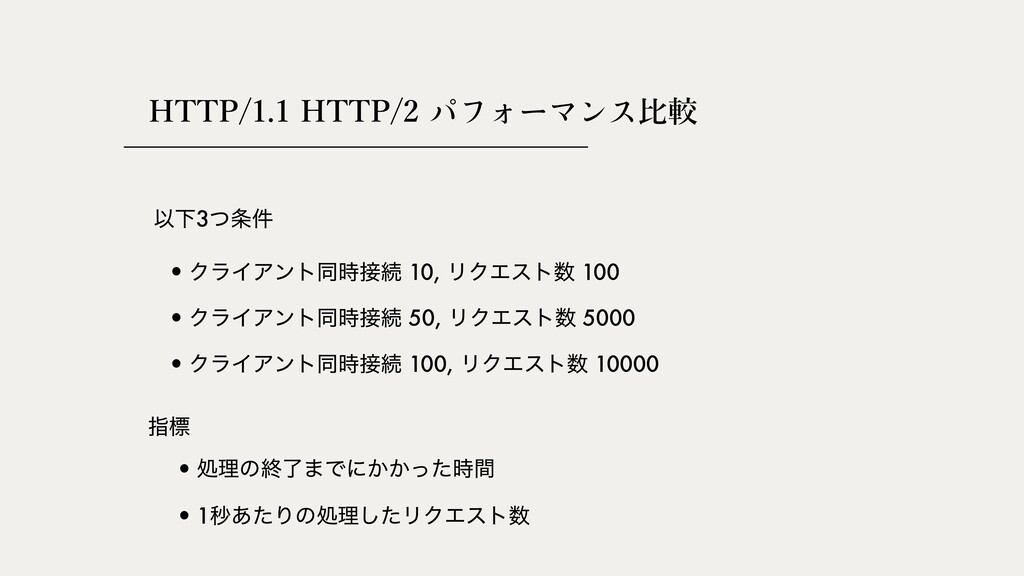 HTTP/1.1 HTTP/2 ⽐較 ҎԼ3ͭ݅ •ΫϥΠΞϯτಉଓ 10, ϦΫΤετ...