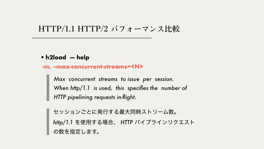 HTTP/1.1 HTTP/2 ⽐較 •h2load — help Max concurren...