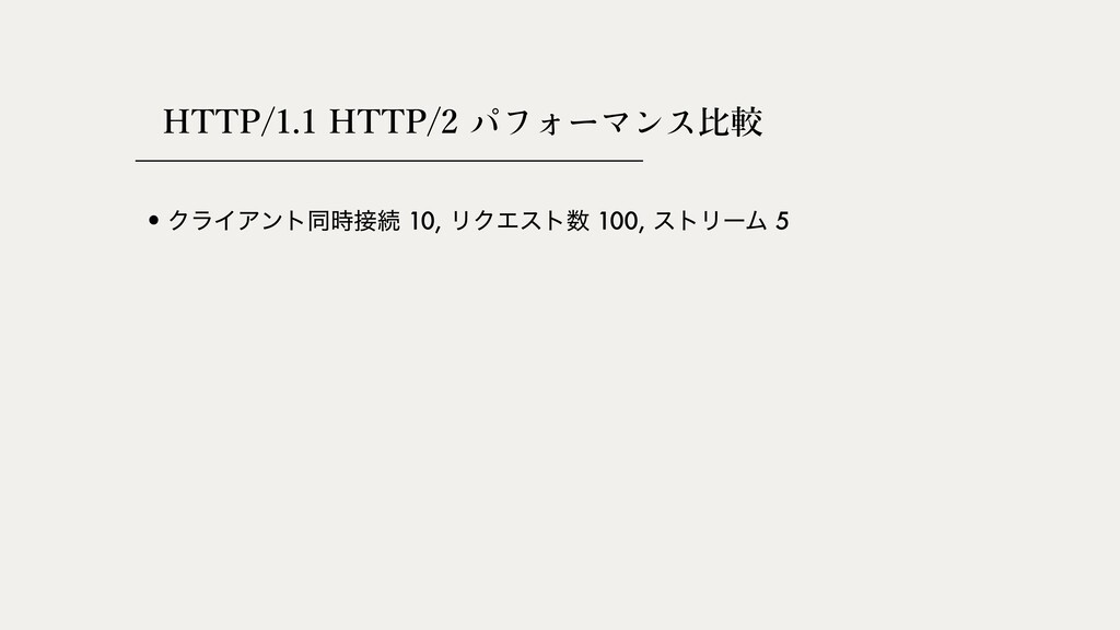 HTTP/1.1 HTTP/2 ⽐較 •ΫϥΠΞϯτಉଓ 10, ϦΫΤετ 100, ...
