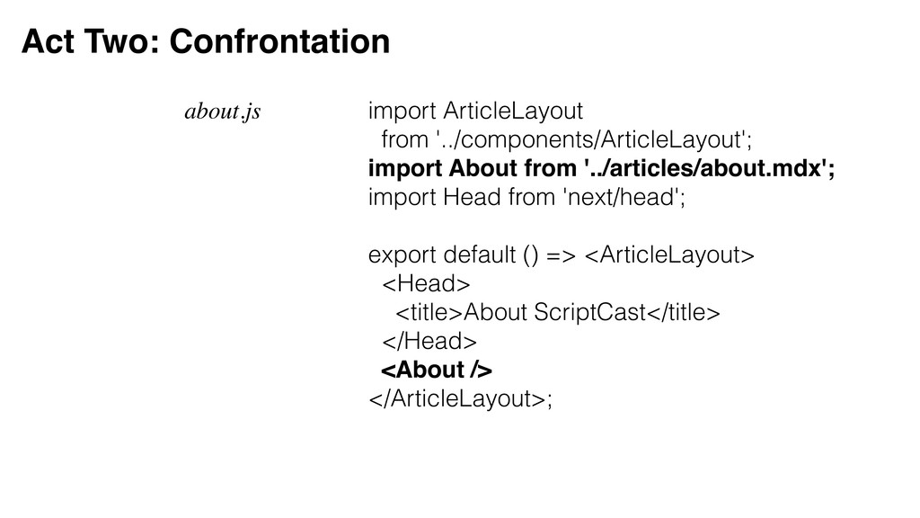 Act Two: Confrontation about.js import ArticleL...