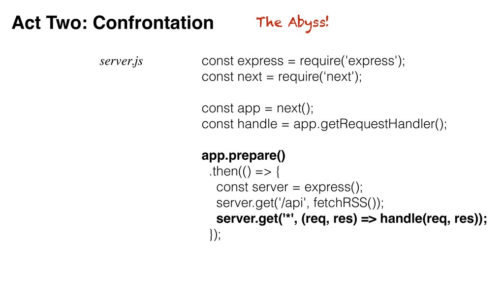 Act Two: Confrontation server.js const express ...