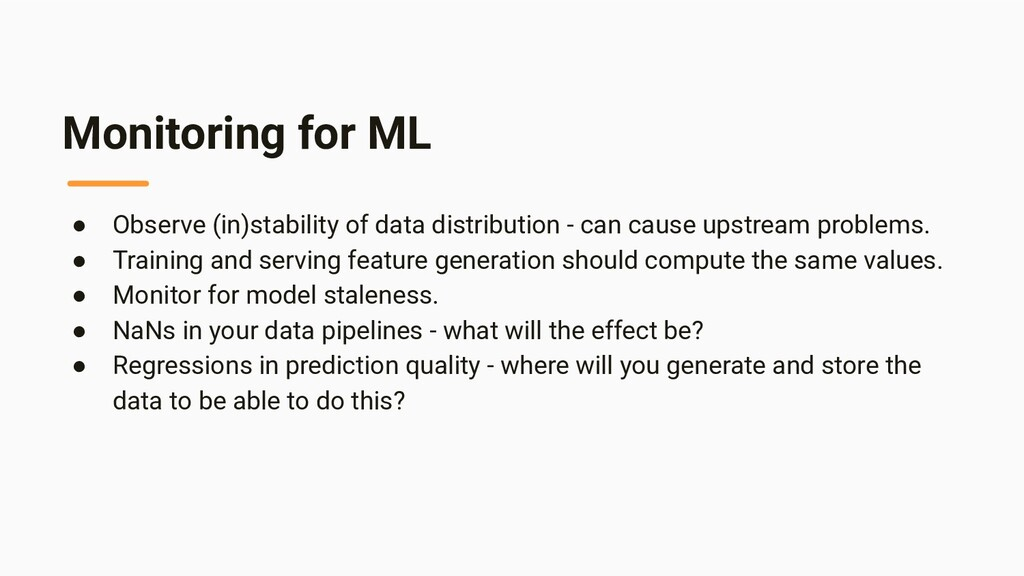 Monitoring for ML ● Observe (in)stability of da...