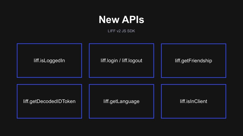 New APIs LIFF v2 JS SDK liff.isInClient liff.lo...