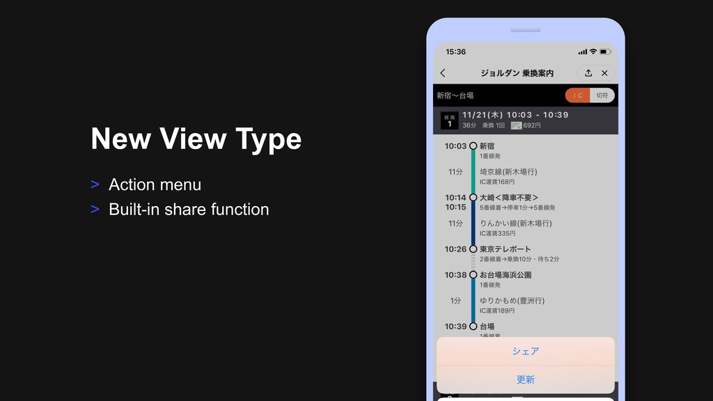 > Action menu > Built-in share function New Vie...