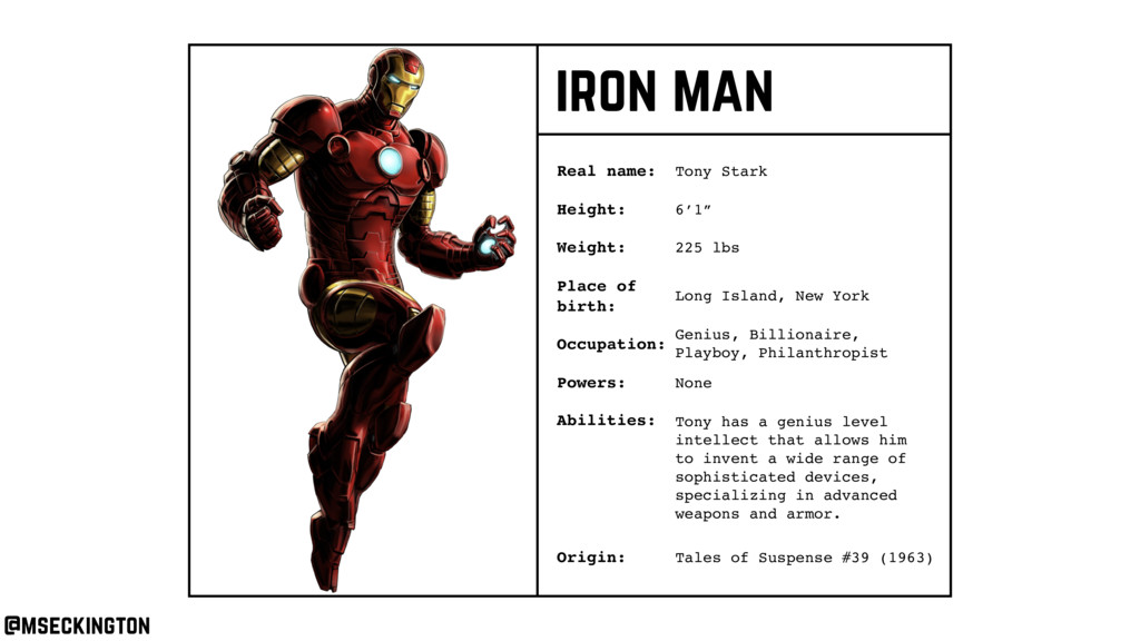iron man Real name: Height: Weight: Occupation:...