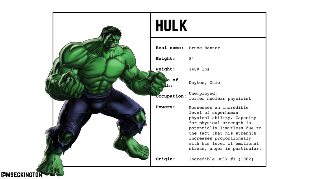 hulk Real name: Height: Weight: Occupation: Ori...