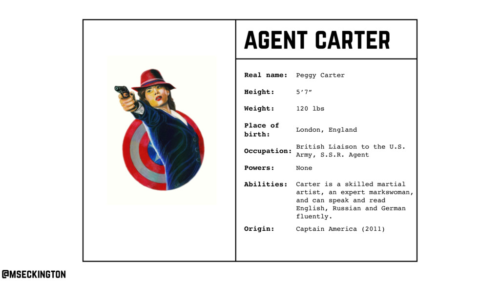 agent carter Real name: Height: Weight: Occupat...