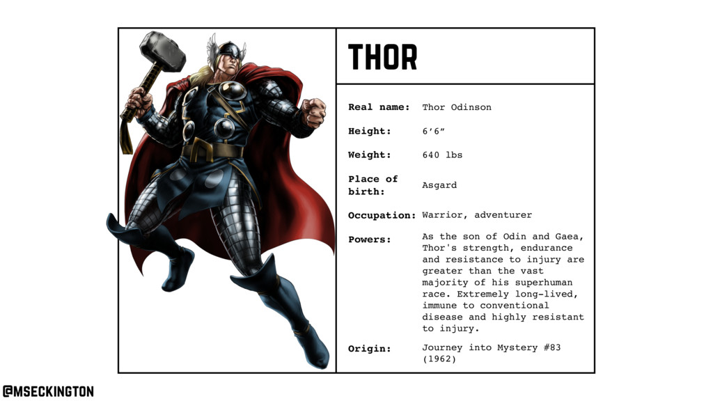 thor Real name: Height: Weight: Occupation: Ori...