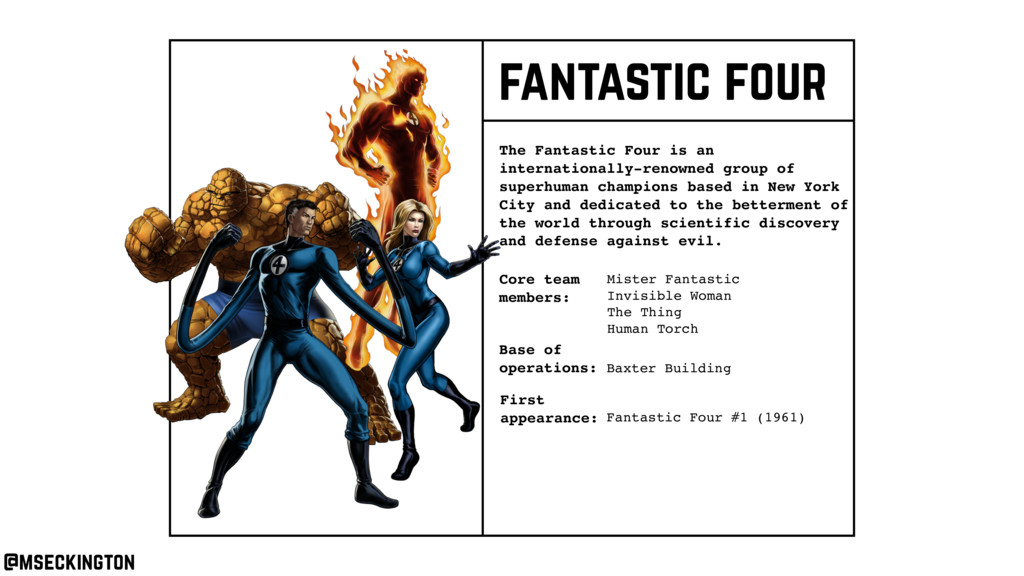 Core team members: The Fantastic Four is an int...