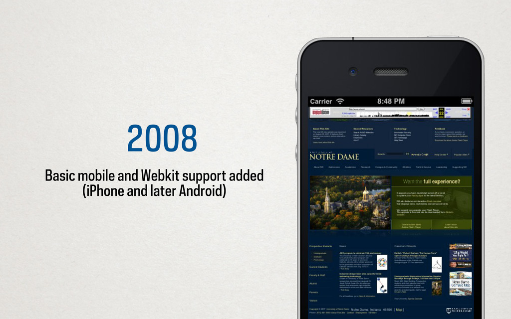 2008 Basic mobile and Webkit support added (iPh...
