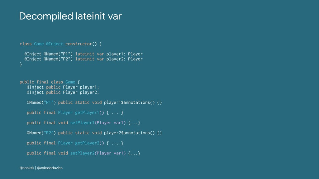 Decompiled lateinit var class Game @Inject cons...