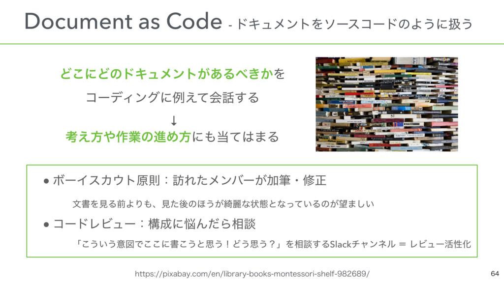 ɹDocument as Code - υΩϡϝϯτΛιʔείʔυͷΑ͏ʹѻ͏ ɹ ● ϘʔΠ...