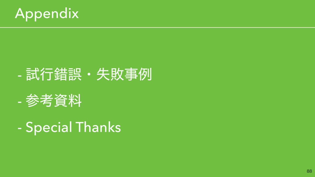 - ࢼߦࡨޡɾࣦഊྫ - ߟྉ - Special Thanks  ɹAppendix