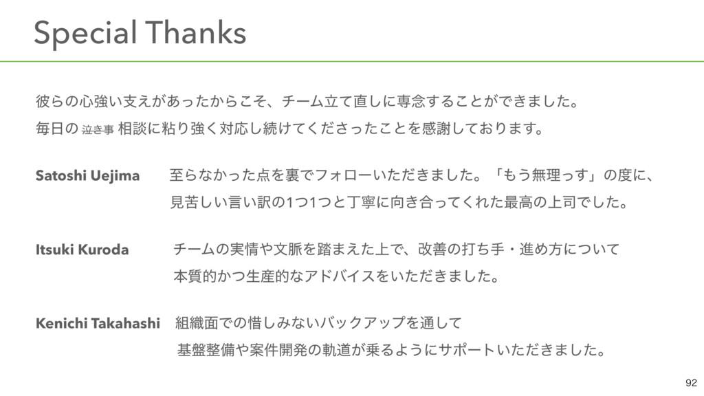 ɹSpecial Thanks ൴Βͷ৺ڧ͍ࢧ͕͔͑͋ͬͨΒͦ͜ɺνʔϜཱͯ͠ʹઐ೦͢Δ͜ͱ...