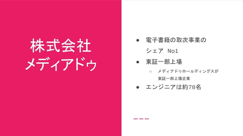 株式会社 メディアドゥ ● 電子書籍の取次事業の シェア No1 ● 東証一部上場 ○ メディ...