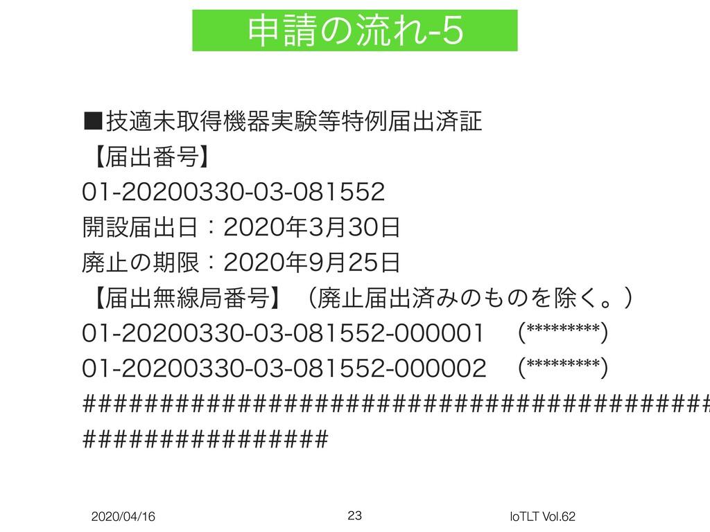2020/04/16 IoTLT Vol.62 ਃͷྲྀΕ  ˙ٕదະऔಘػث࣮ݧಛ...