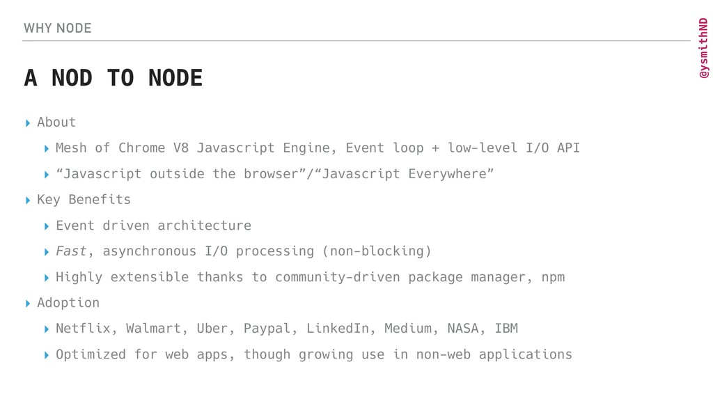 @ysmithND WHY NODE A NOD TO NODE ▸ About ▸ Mesh...