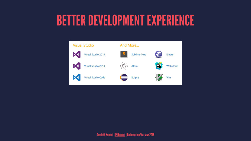BETTER DEVELOPMENT EXPERIENCE Dominik Kundel | ...