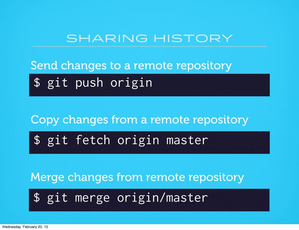 sharing history $ git push origin Send changes ...