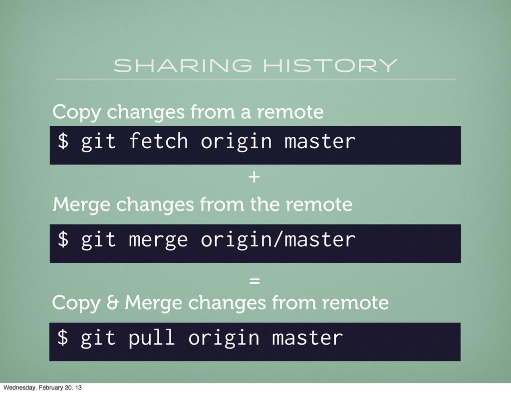 sharing history $ git fetch origin master Copy ...
