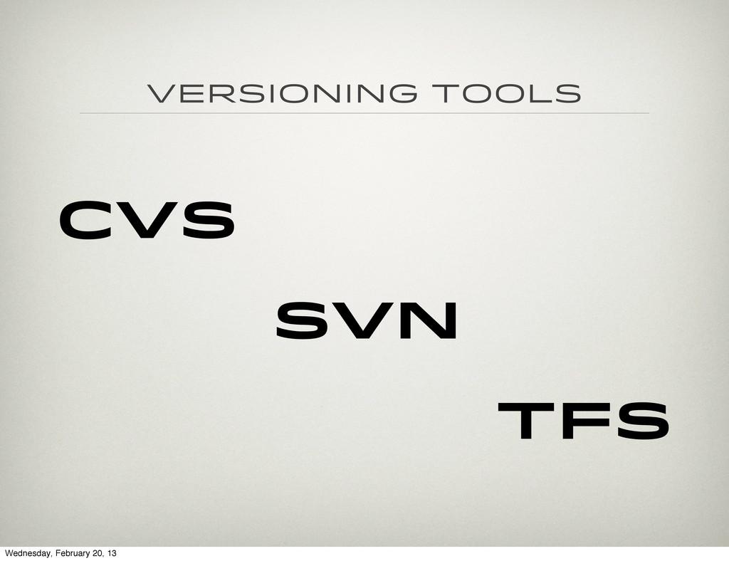 Versioning Tools CVS SVN TFS Wednesday, Februar...