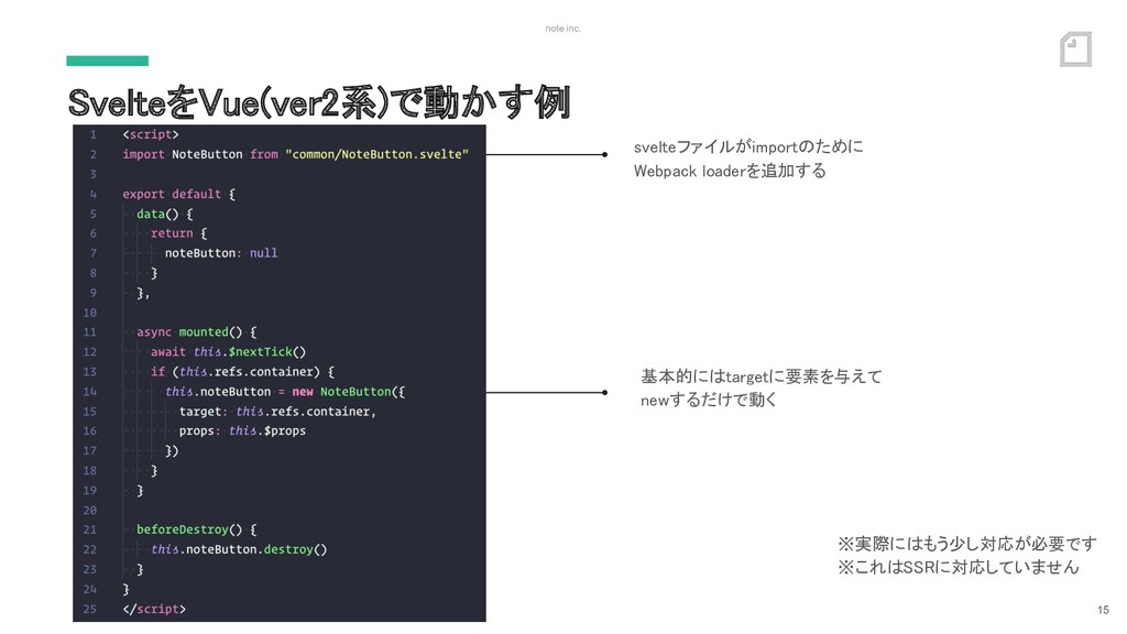 note inc. SvelteをVue(ver2系)で動かす例 15 svelteファイル...