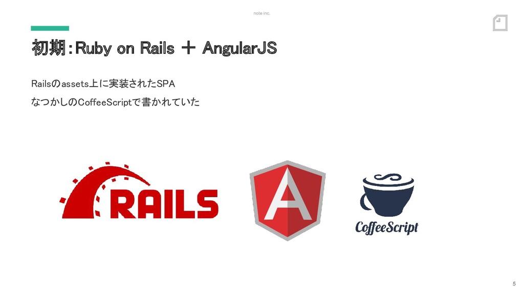 note inc. 初期:Ruby on Rails + AngularJS 5 Rails...