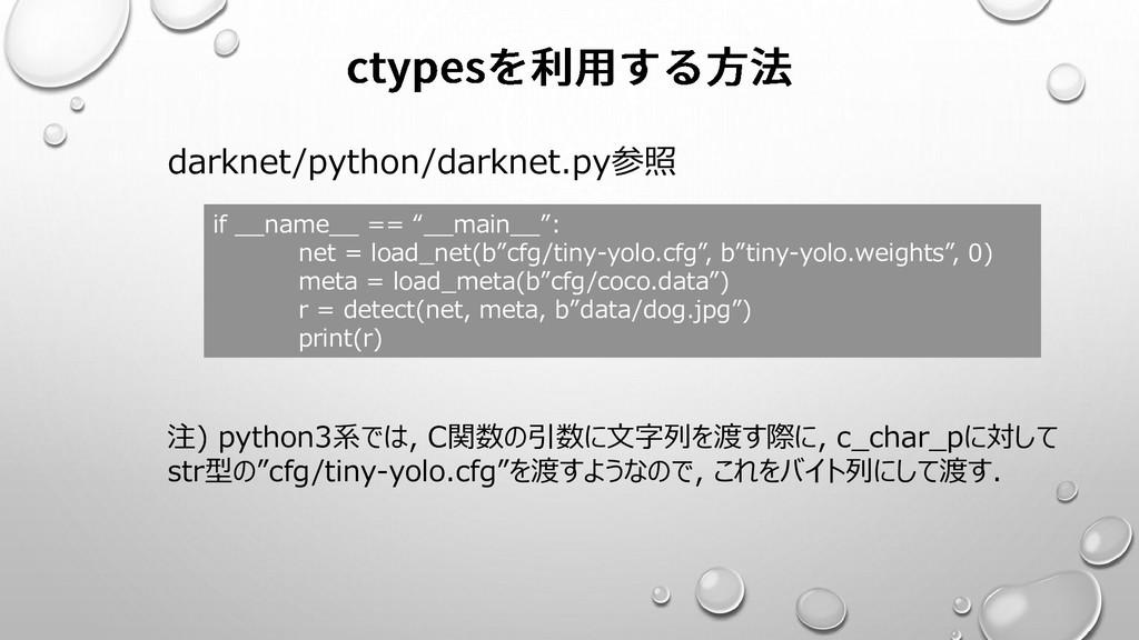 darknet/python/darknet.py参照 注) python3系では, C関数の...