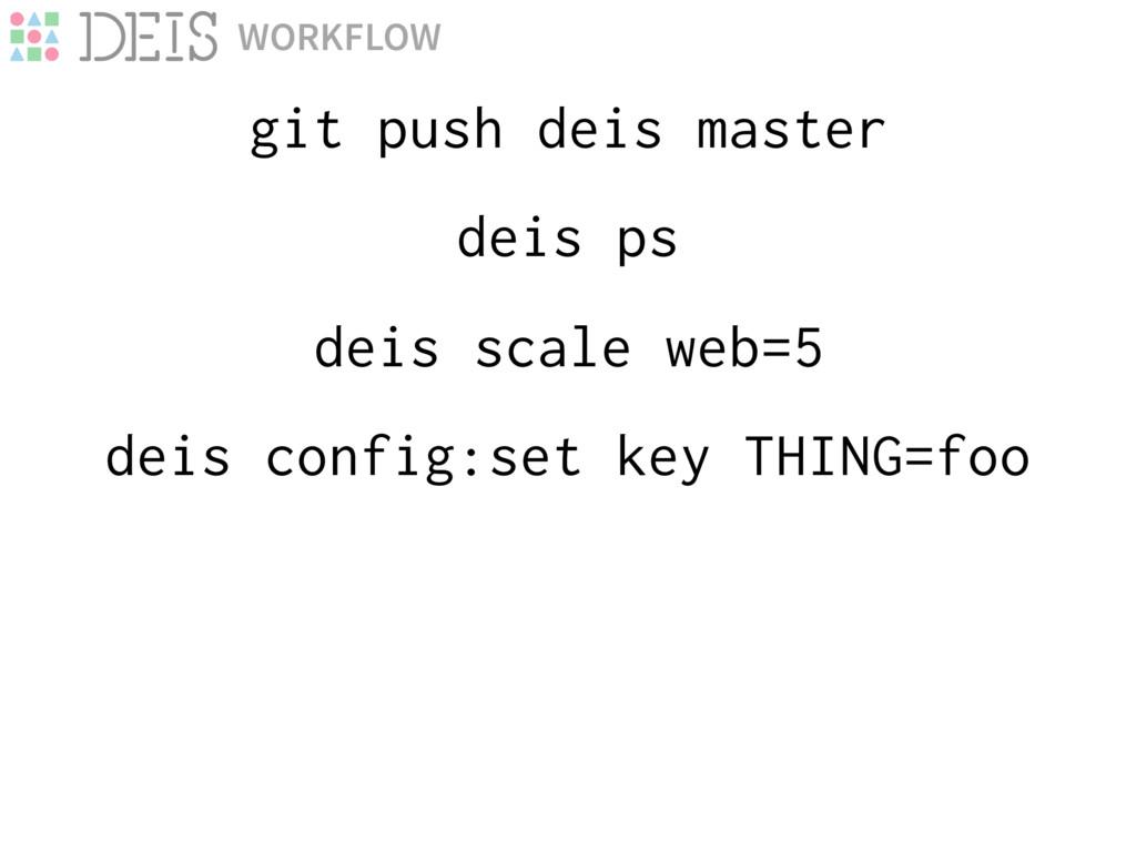 deis scale web=5 git push deis master WORKFLOW ...