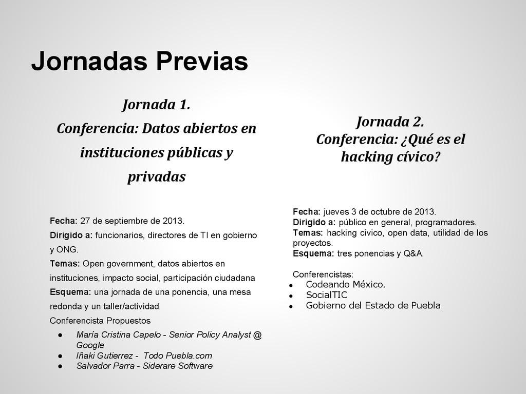 Jornadas Previas Jornada 1. Conferencia: Datos ...