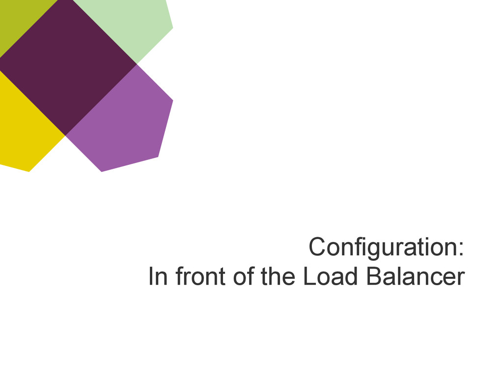 Configuration: In front of the Load Balancer