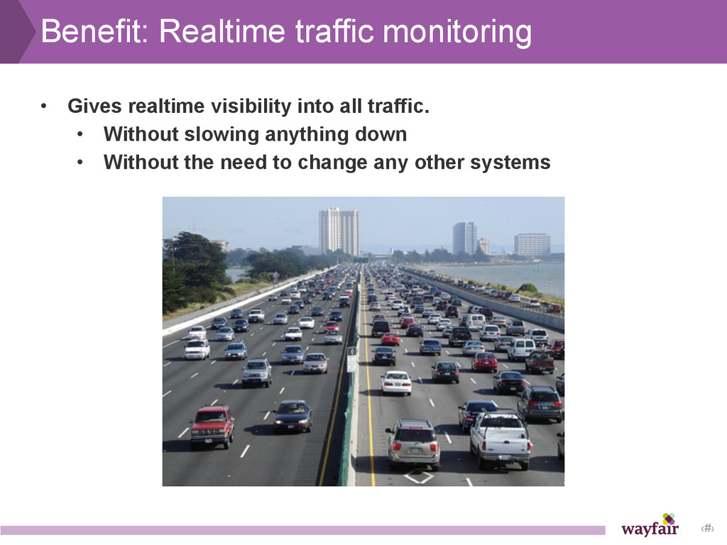 ‹#› Benefit: Realtime traffic monitoring • Give...