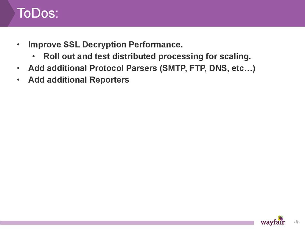 ‹#› ToDos: • Improve SSL Decryption Performance...